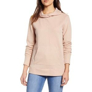 NWT Caslon Pink Smoke Shimmer Hooded Pullover M